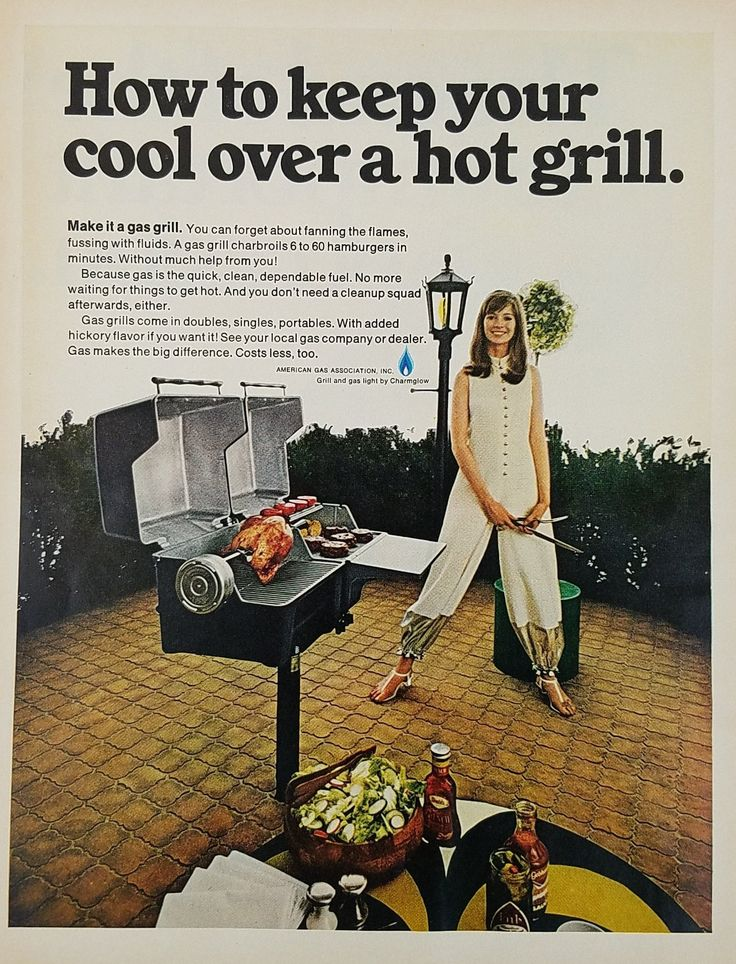 1969 American Gas Association Vintage Ad - Woman Grilling Chicken Burgers Grill Dinner