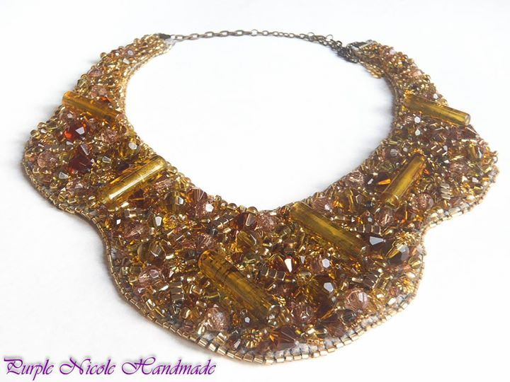 Sun and Honey - Handmade Statement Necklace by Purple Nicole (Nicole Cea Mov). Materials: colored glass beads, glass crystals, metallic beads, acrylic tube beads, felt.