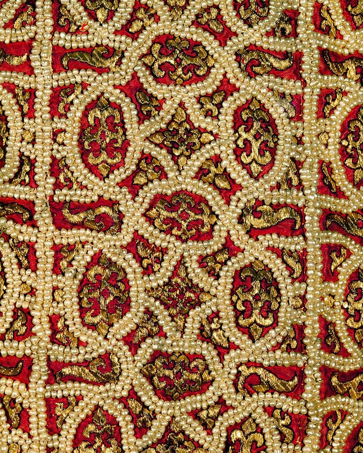 Embroidery from the hem of the Alb, detail of 30-01-02/24. The Alb was worn under the coronation mantle by Emperors of the Holy Roman Empire. From the Royal workshop in Palermo, 1181. Inv. XIII 7