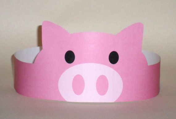 Create your own Pig Crown! Print, cut & glue your pig crown together & adjust to fit anyones head!    • A .pdf file available for instant download