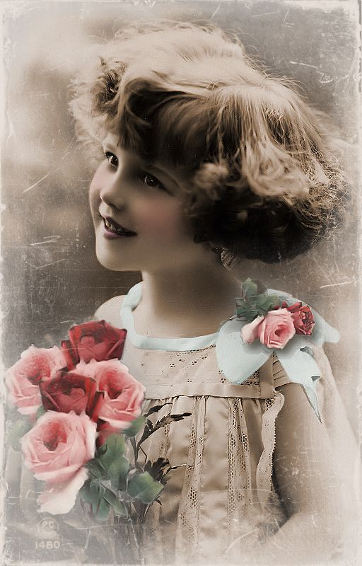 JanetK.Design Free digital vintage stuff: Meisje met bloemen