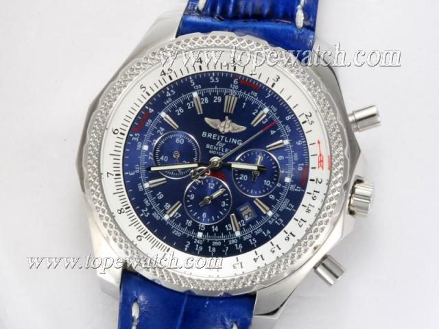 Breitling For Bentley Motors Chronograph Automatic with Blue Dial and Strap - AAA Swiss  Replica Bentley Watches
