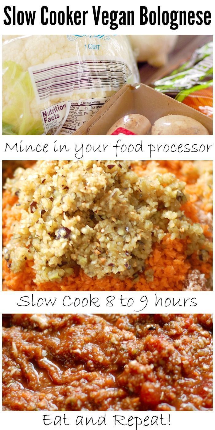 Slow Cooker Vegan Bolognese with Cauliflower, Eggplant, Mushrooms and Carrots   HealthySlowCooking.com