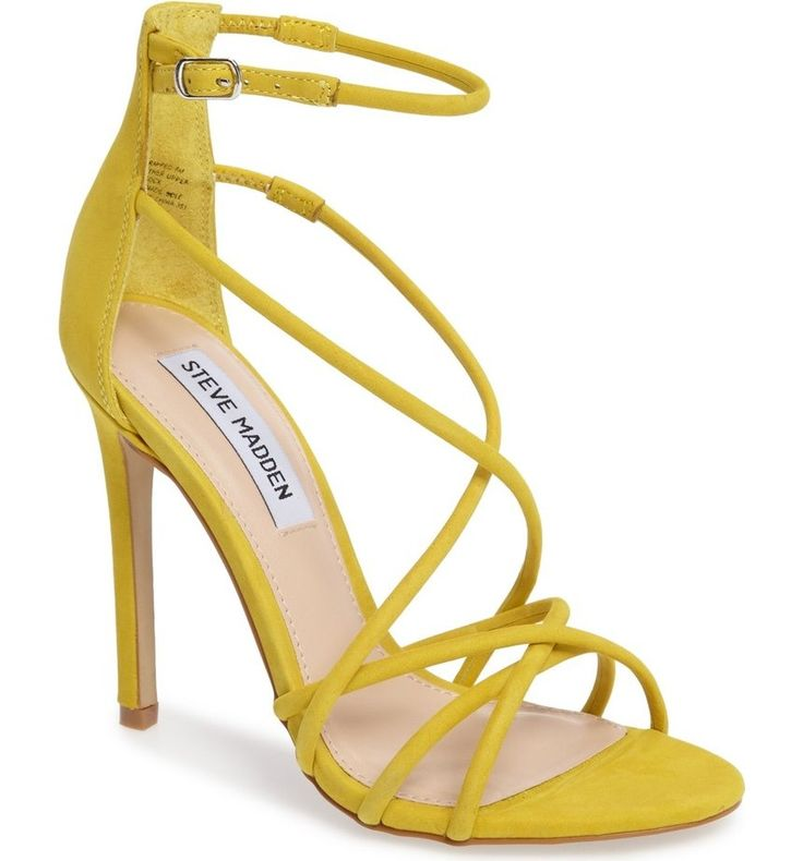 Perfect for a glamorous evening event or night on the town, this strappy leather sandal is lofted by a slim stiletto heel.