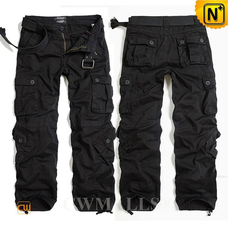 CWMALLS® Mens Black Cargo Pants CW100017 - Buy mens hiking cargo pants in black, this cargo pants is casual, fashion and comfortable. Casual outdoor sportswear black hiking cargo pants for men crafted from 100% cotton, classic stylish 8 pockets design and our refined yet rugged hiking pants is your best choice!