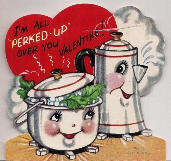 Vintage Valentines Day Card Anthropomorphic Perked Up Coffee Pot U0026 Kettle