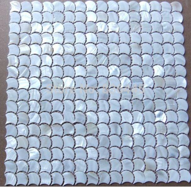 Poissons échelle ventilateur forme shell mosaïque mère de tuiles perle naturel couleur cuisine dosseret salle de bains shell mosaïques tuile dans Mosaïque de Amélioration de l'habitat sur AliExpress.com | Alibaba Group