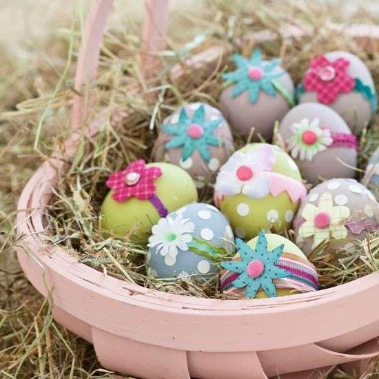 Uova decorate - Uova con fiorellini.