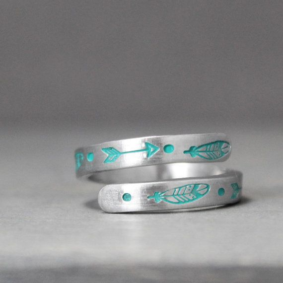 Feather Wrap Ring, Aluminum Wrap Ring, from etsy