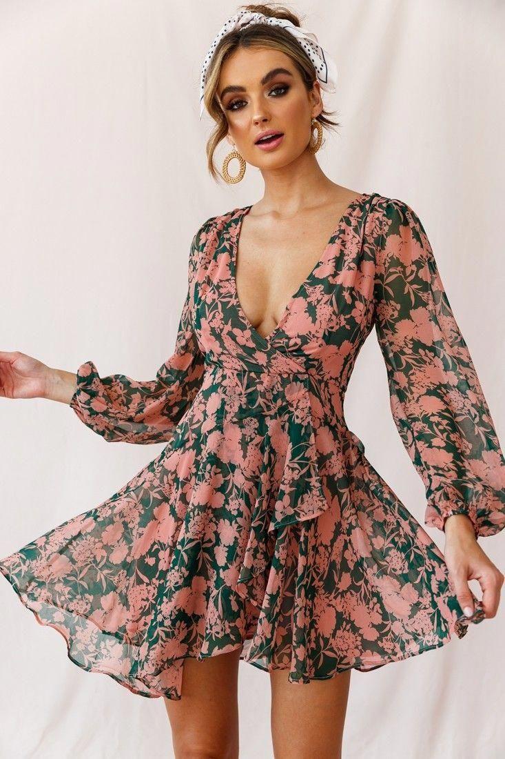 Wisteria Lane Long Sleeve Tea Dress Forest Green In 2020 Boho Chic Dress Tea Dress Casual Party Dresses