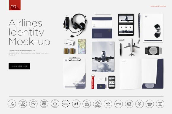 Airlines Company Identity 2 Mock-up by mesmeriseme.pro on @creativemarket
