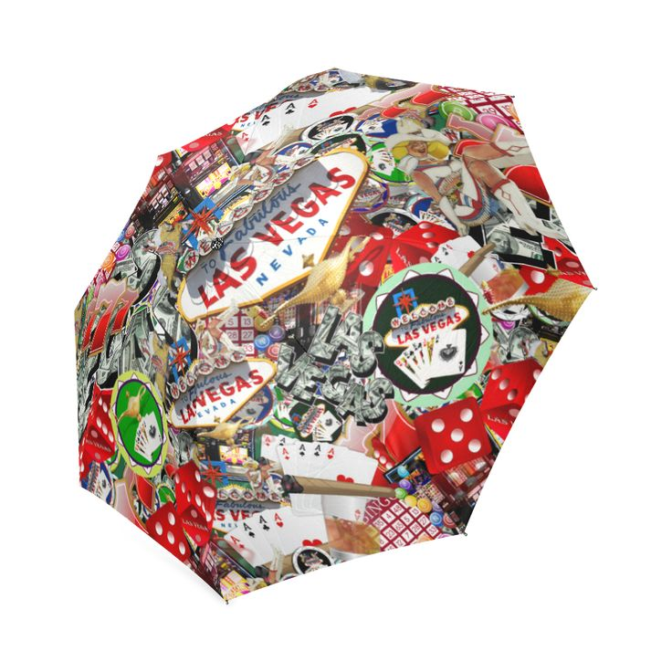 Las Vegas Icons - Gamblers Delight Foldable Umbrella - LAS VEGAS! Popular sights in Las Vegas, including the Las Vegas Welcome Sign, Poker chips, dice , slot machines and more. (Las Vegas icons, Las Vegas , Gravityx9 )