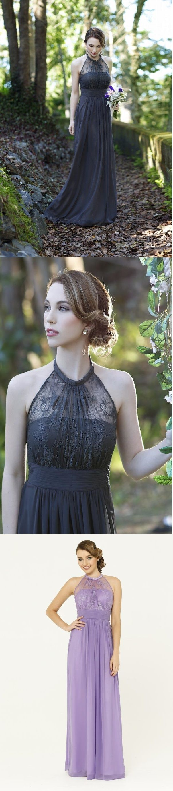sleeveless halter neckline a-line/princess long chiffon bridesmaid dress