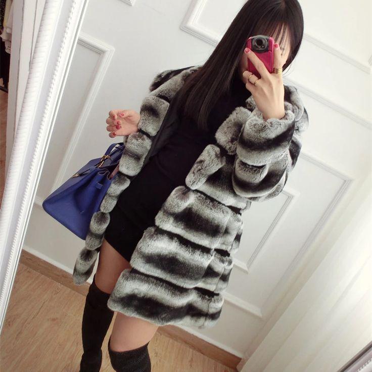 High quality chinchilla fur coats for women rex rabbit fur coat with hood
