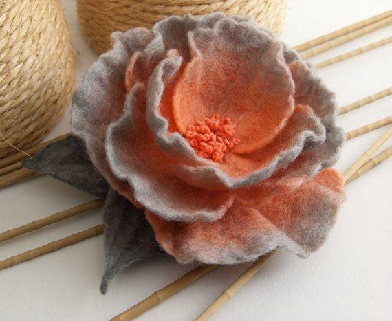 Felt Flower Brooch by felttess on Etsy