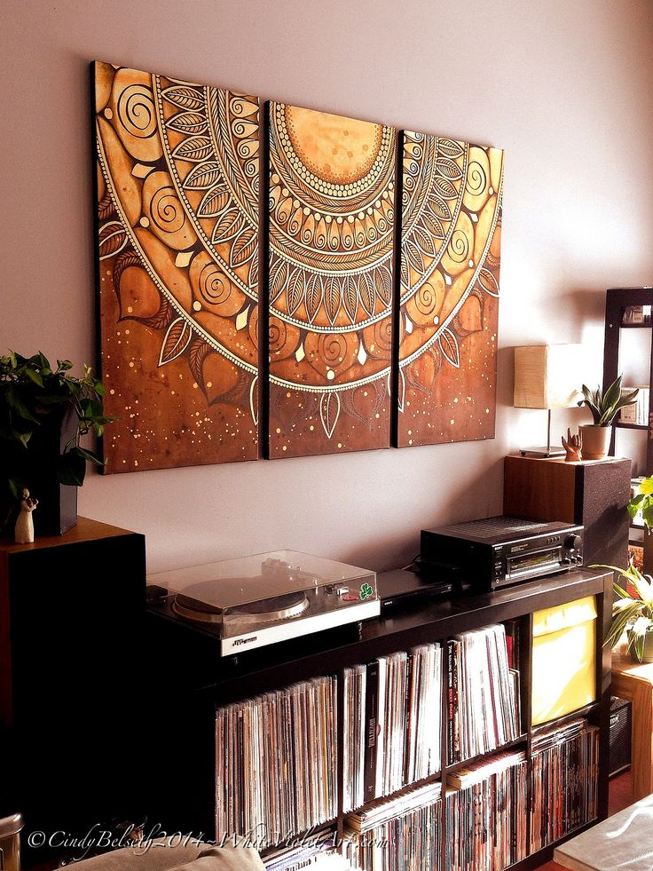 https://flic.kr/p/kp1W5g | The Latest Triptych Painting | Just hung the latest triptych mandala for a mini photo shoot before sending it off to it's new home in Switzerland, hopefully later this week! :) Mixed Media on Canvas 18x36 inches/panel ©CindyBelseth2014 WhiteVioletArt.com