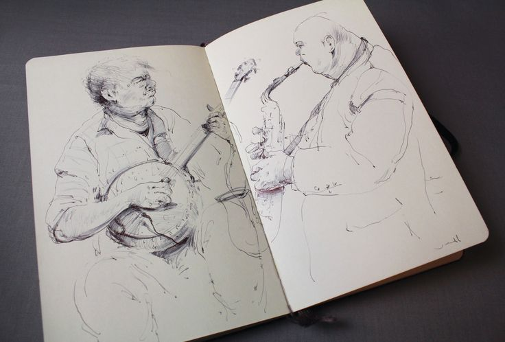 Banjo and sax. #drawing #sketch #ballpointpen #moleskine #figurative #music