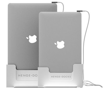 Vertical MacBook with Retina Display 15in 13in, docking station, metal, plastic, integrated cables, thunderbolt compatible, multiple screens monitors, Apple