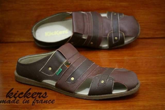 Beli Sandal Bustong Kickers Sandal Pria Kulit Asli Sandal Brown
