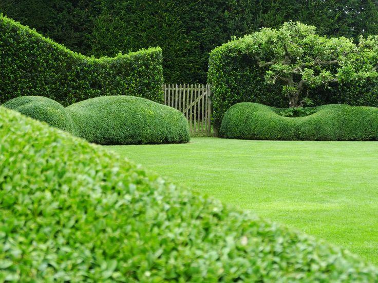 landelijk tuinontwerp met groene volumes en houten poortje