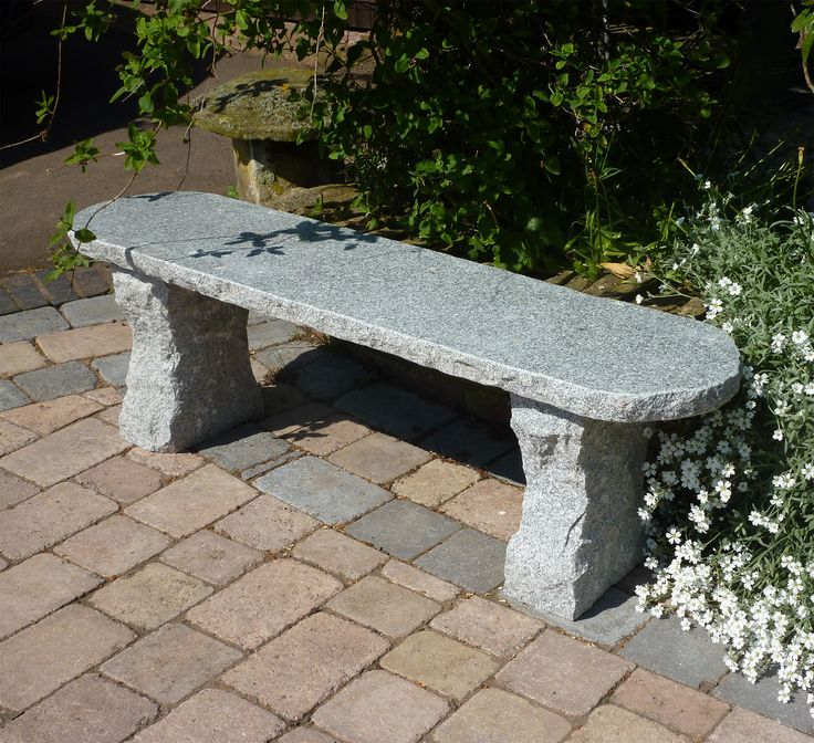 Elegance II Natural Granite Grey Stone Bench - Large Garden Benches. Buy now at http://www.statuesandsculptures.co.uk/large-garden-benches-elegance-ii-natural-granite-stone-bench