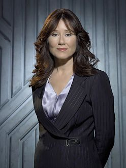 Mary McDonnell (as Laura Roslin) in Battlestar Galactica