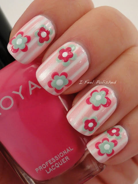 Pink and White Stripes with floral accents mani