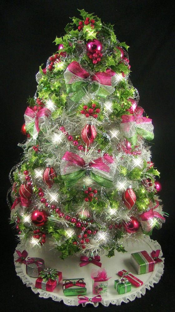 white mini tabletop christmas tree fuchsia lime green fully decorated 50 clear lightsskirtpresents reserved for - Fully Decorated Christmas Trees For Sale