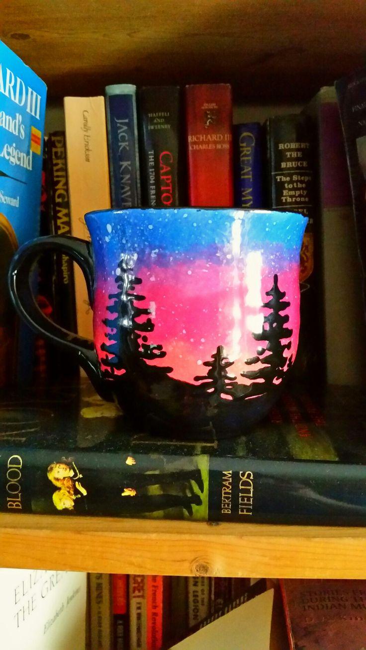 Tea/mug/pine trees/painted at work
