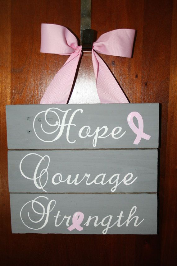 Hope Courage Strength Pallet Sign Breast Cancer by ThesweetletterG, $25.00