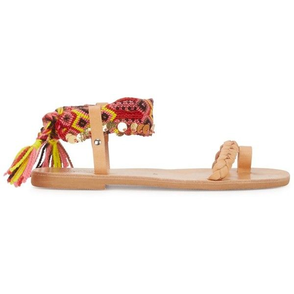 Elina Lebessi Athina embellished leather sandals (£90) ❤ liked on Polyvore featuring shoes, sandals, sequin shoes, braided ankle-wrap sandal, woven leather sandals, braided sandals and colorful sandals