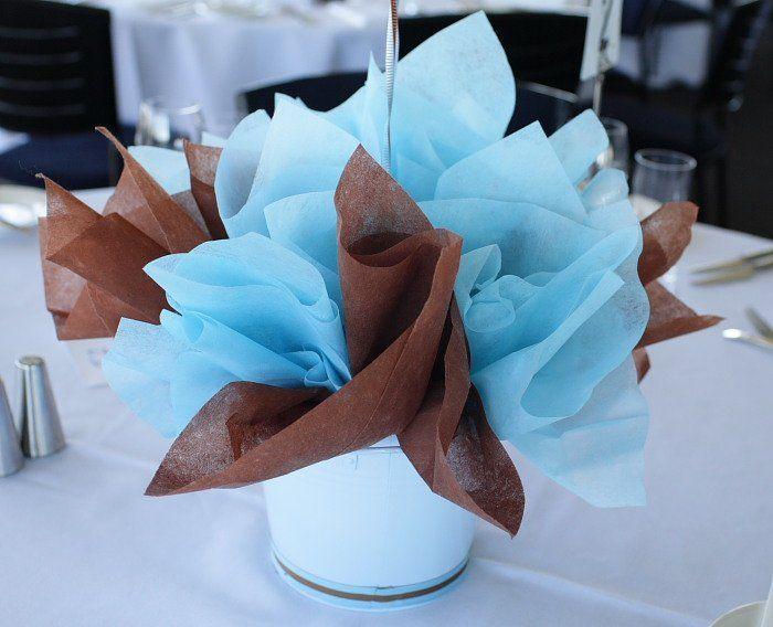 blue and brown baby shower ballon decorations   Blue Brown Table Centerpiece - Le Petit