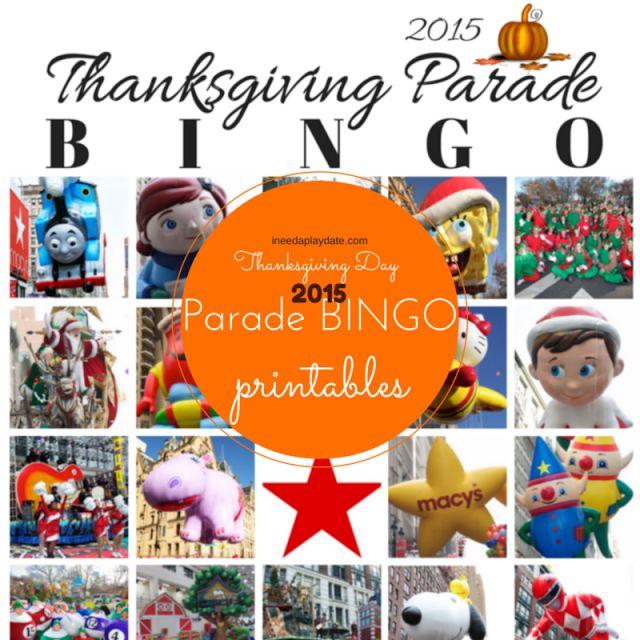 Thanksgiving Day Parade Bingo for 2015