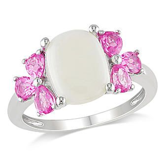 Amour 3 1/3 Carat T.G.W. Opal Created Pink Sapphire Fashion Ring in Sterling Silver