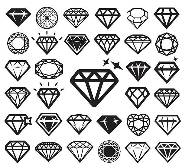Diamond icons set. Vector illustration.