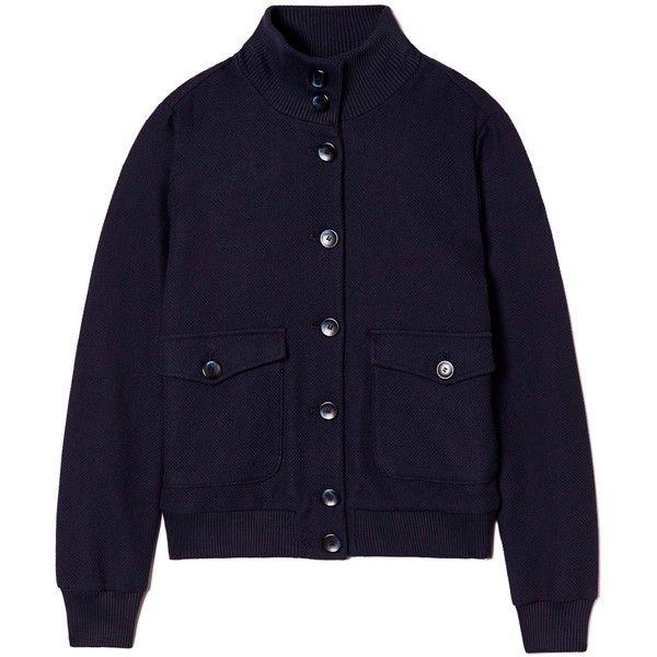 Μπουφάν bomber με μάξι τσέπες ($105) ❤ liked on Polyvore featuring outerwear, jackets, blue jackets, blue bomber jacket, bomber jacket and bomber style jacket