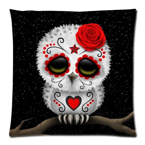 Cute Red Day of the Dead Sugar Skull Owl Stars Zippered Pillow Case 18x18 (one sides)One Side #Affiliate