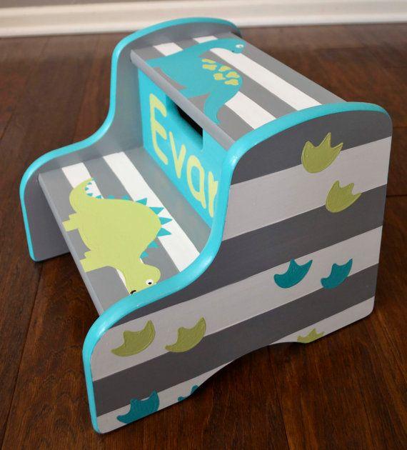 Dinosaur Step Stool Children's Step Stool by FrogsAndFairytales