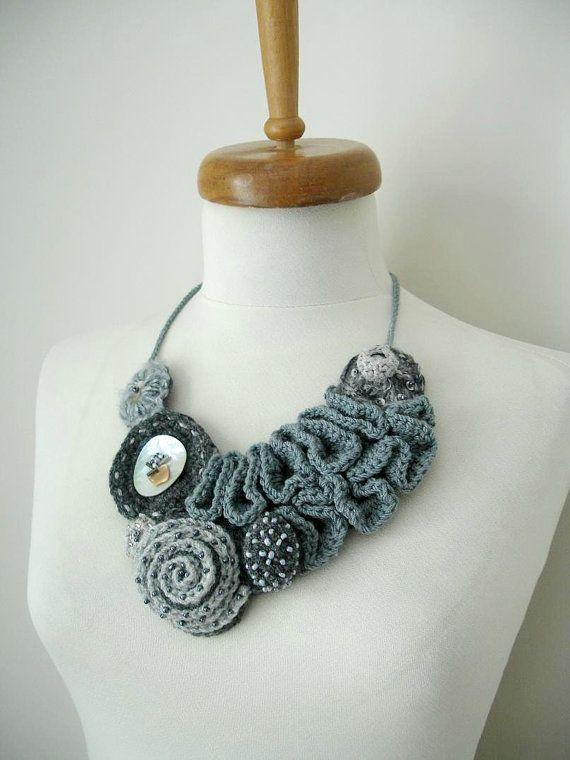 """Fiberart Crochet Necklace, """"The long way to the Mountain"""",  Collar Necklace, Freeform crochet necklace By CrochetLab, wearableart"""