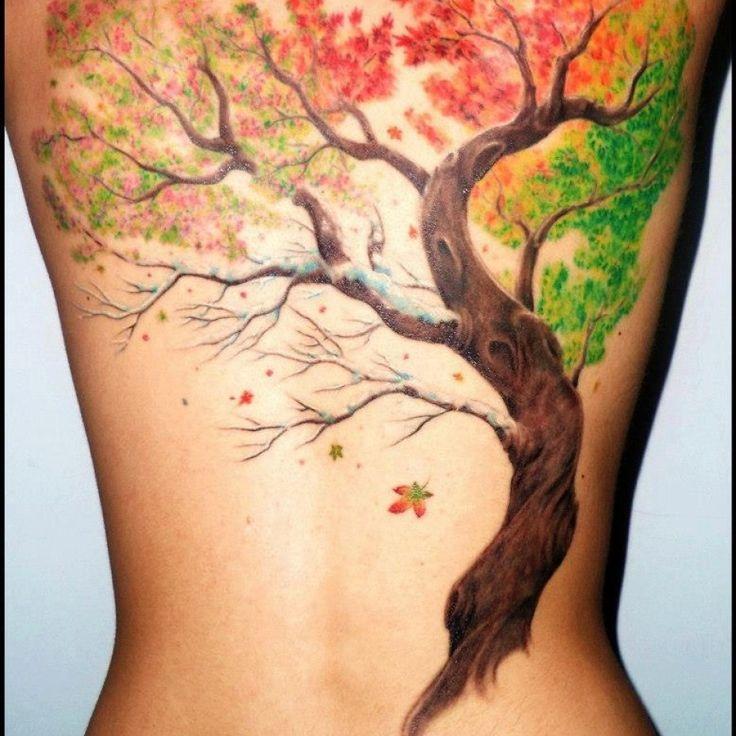 Like the representation of all 4 seasons. http://tattoomagz.com/amazing-autumn-style-tattoos/brown-tree-autumn-tattoos/