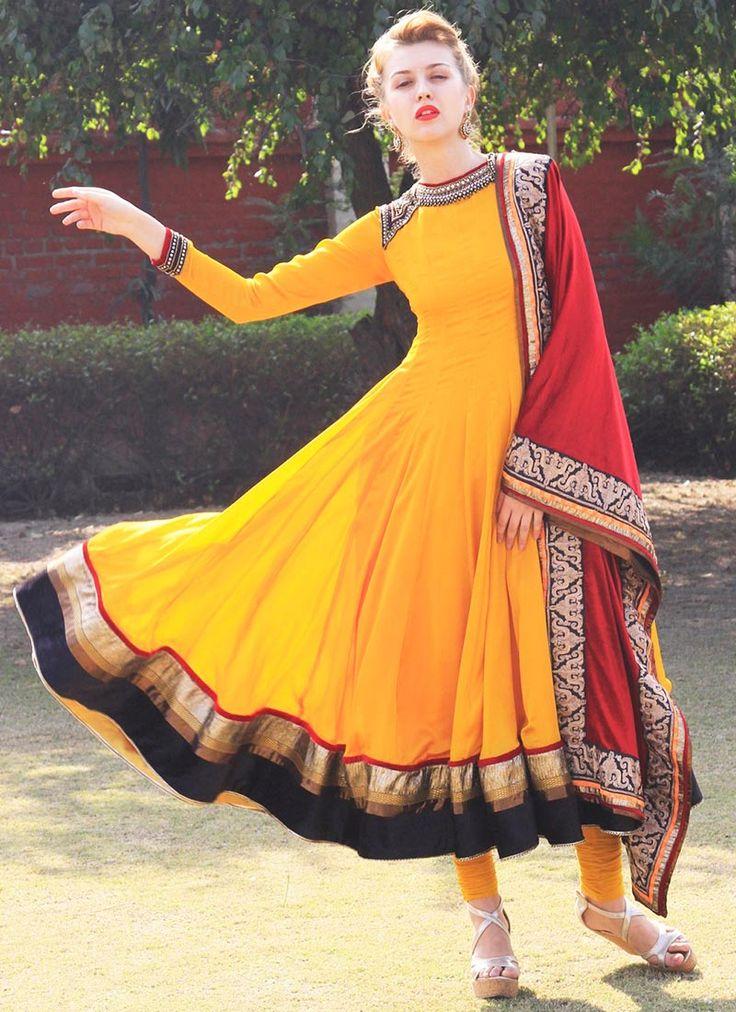 Dazzling Yellow Silk Anarkali Suit