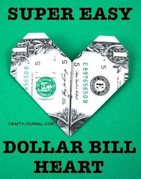 Super Easy Dollar Bill Heart – #bill #Dollar #doll…