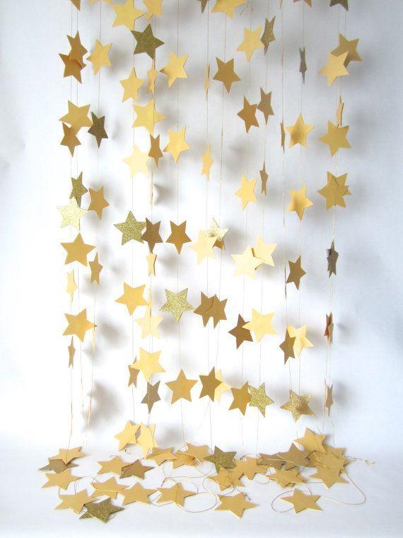 Paper garland, Star Garland, wedding garland, glitter garland, holiday decor, christmas garland, holidays garland, new year decor