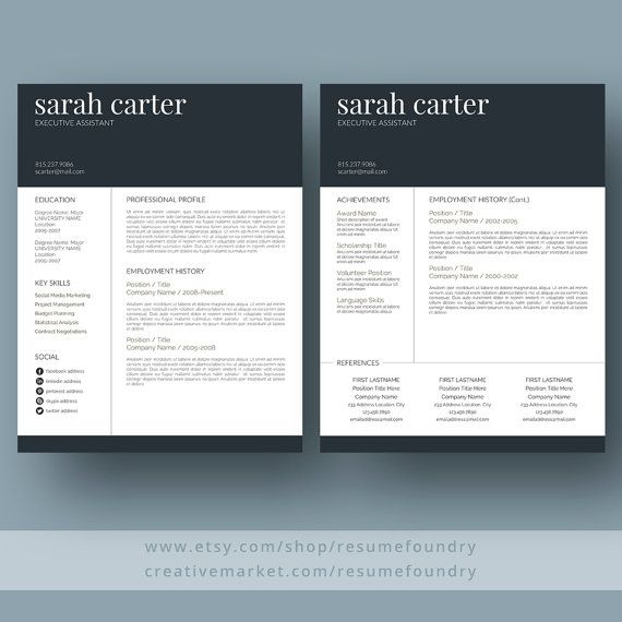 35 best Two Page Resume Template (CV Template) images on Pinterest - two page resume