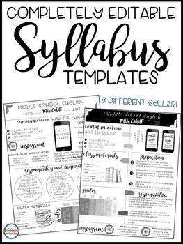 {Syllabus Editable Syllabus Infographic Back to School Forms Open House Forms…