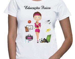00772865b9 Baby Look Camiseta Profissões Blusa Curso Educação física