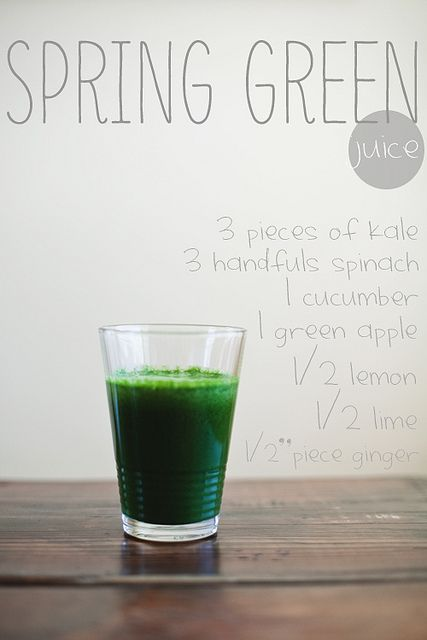 Spring Green Juice by thelittleredhouse #Juice #$Green #Kale #Spinach #Cucumber #Apple #Lemon #LIme #Ginger