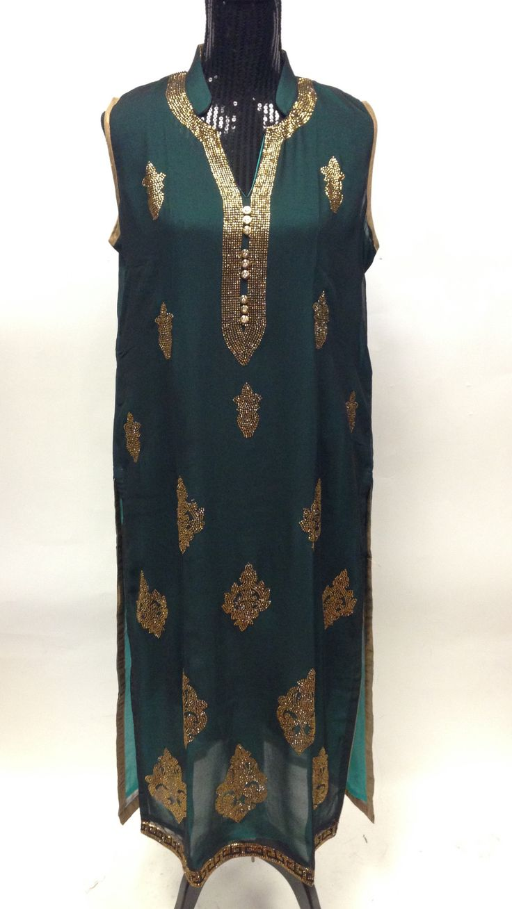 Georgette Long Kurta-Dark Green