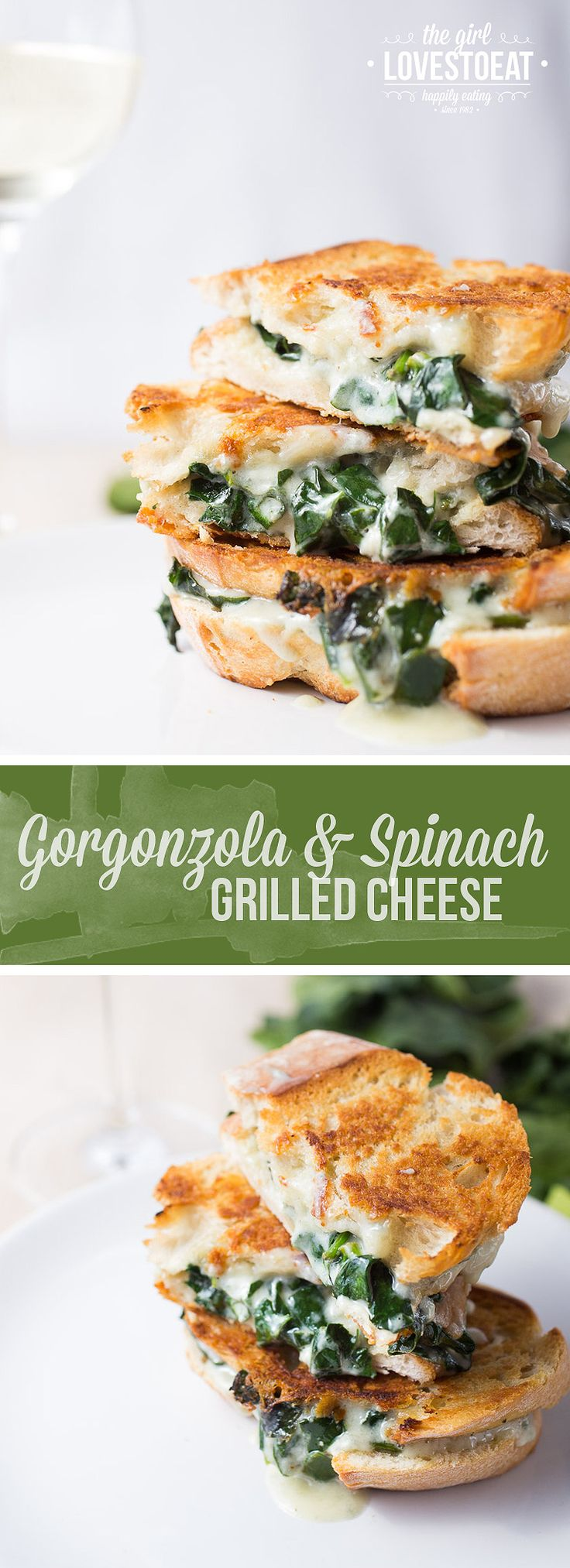Gorgonzola with spinach grilled cheese