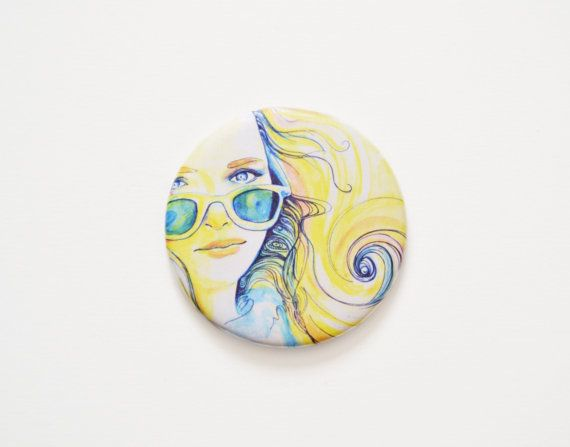 Girl with sunglasses round mini pocket mirror by FunkyFancyAnimals, €4.50